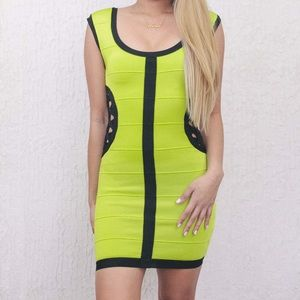 Bebe Addiction Neon Green Cutout Bandage Dress